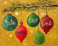 personalized christmas ornaments canvas painting | sip wine paint camp hill pennsylvania - Crafting For Holidays