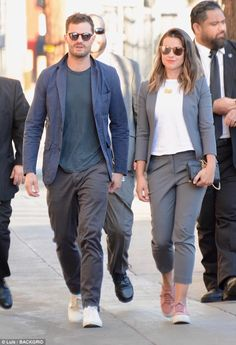 Stepping out: Amelia Warner joined Jamie Dornan at his Jimmy Kimmel interview on Wednesday - after the actor revealed she has never seen his famous Fifty Shades franchise Couple Outfits, Fall Outfits, Amelia Warner Jamie Dornan, Jamie Dornan And Wife, Formal Dresses For Men, Jaime Dornan, Mr Grey, Fashion Couple, Comfortable Outfits