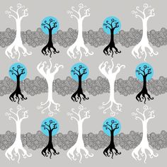 Abstract trees with geometric detail. Spoonflower.com