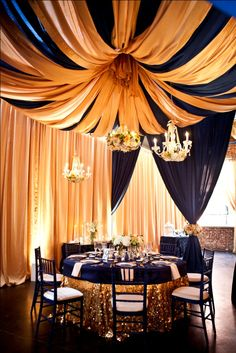 Love the idea of blush, navy and or taupe draping