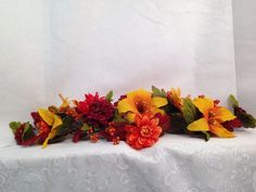 """Decorative Table Piece 29"""" Long Leaves Berries Flowers Fall Autumn Winter #Unbranded"""