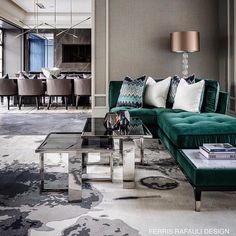 ( ・・・ Another glimpse into this newly completed super lush FR mega home. Corner Sofa Living Room, Living Room Grey, Dining Room, Colonial, Luxury Interior, Interior Design, Feng Shui Bedroom, Space Interiors, Green Rooms
