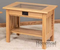 Display Top Mission End Table w/Glass Top by Homestead Furniture made in Amish Country.