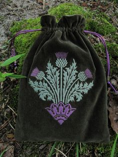 Inspired by my love of Scotland, this is a new custom design based on a Victorian pattern. Intricate machine-embroidered thistle in misty pale