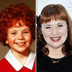Aileen Quinn Reunites With Costar Tim Curry 33 Years After 'Annie' Plus See More Former Child Stars Over 40 Then and Now! Actors Then And Now, Celebrities Then And Now, Famous Celebrities, Celebs, Famous Child Actors, Her Annies, The Little Couple, Then And Now Pictures, Carol Burnett