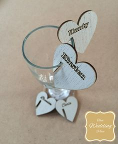 Wedding Place Cards - Glass Hanging Heart
