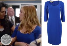 Dr. Maura Isles (Sasha Alexander) wore this form fitting sapphire scoop neck dress in an episode of Rizzoli and Isles.