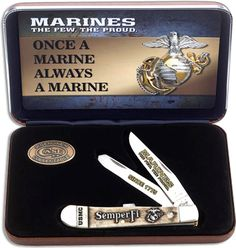 "Case Knives: Case USMC Trapper Knife Set, CA-13183The illustrated Case Knife Set includes the USMC (6254SS) Case Trapper Knife that features embellished clip and spey blades made of Tru-Sharp surgical stainless steel with nail nicks for opening. The Smooth White Bone handle of this Case knife, 4 1/8"" closed, has the USMC logo and Semper Fi embellishment, nickel silver bolsters and Case Long Tail C serialization. The Case USMC Trapper Knife weighs 4 ounces. A Case Medallion and a Certificate…"