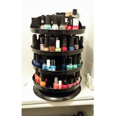 Nail polish stored on a revolving bin from Harbor Freight tools! Only $20 and holds more than 160 polishes! Each shelf spins individually! Can be used for many things! www.harborfreight.com