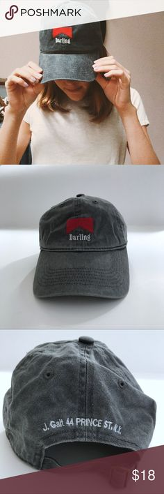 Brandy darling distress hat 😍 Brandy Melville Katherine darling gray distress hat , size : one size, super cute hat with the darling embroidery, the back is adjustable, its brand new in a perfect condition !!!                                                               ♥️no trades.                                                                          ♥️bundle and save.                                                             ♥️make me an offer Brandy Melville Accessories Hats