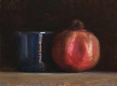 Still life with pomegranate and blue cup. Julian Merrow Smith.
