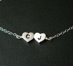 TWO Initial Heart Necklace Personalized by DanglingJewelry on Etsy, $26.00