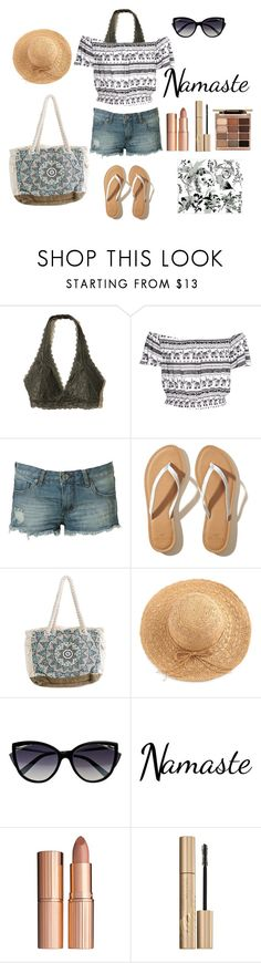 """Sandy Toes, Sun kissed Nose"" by mgslucycat on Polyvore featuring Hollister Co., H&M, Billabong, WithChic, La Perla, Charlotte Tilbury and Stila"