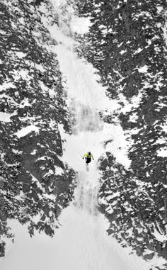 Moonlight Basin Freeskiing World Tour.  Lone straightline/ drop on the Headwaters.