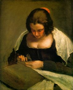 Diego Velazquez - The Needlewoman ('La costurera') (oil on canvas, c.1640)