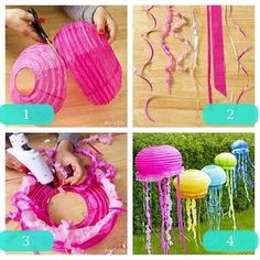 Pool party :) Under the sea, Jelly fish made out of half a japanese paper lantern glue of streamers of ribbons of various kinds or materials. Lila Party, Festa Party, Party Party, Beach Party, Birthday Party Decorations, Birthday Parties, Decoration Party, 4th Birthday, Birthday Ideas
