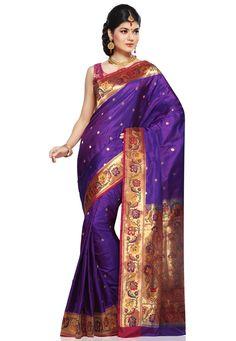 Purple Pure Silk Handloom Banarasi Saree with Blouse: SAU146