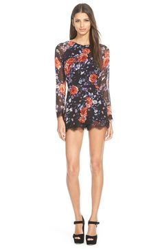 Love Sadie Lace Trim Floral Print Romper available at #Nordstrom