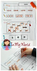 Sight Words cut and paste word work FREE