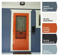 Paint colors from Chip It! by Sherwin-Williams House Siding, House Paint Exterior, Exterior Paint Colors, Exterior House Colors, Paint Colors For Home, Orange Front Doors, Orange Door, Yellow Doors, Orange House