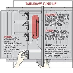 table saw tune-up:                                                                                                                                                     More #woodworkingtips