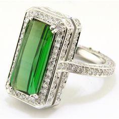 Euphoria New York Diamond And Emerald Cut Green Tourmaline Ring ($8,990) ❤ liked on Polyvore