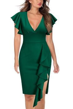 Looking for Knitee Women's Deep-V Neck Ruffle Sleeves Cocktail Party Pencil Slit Formal Dress ? Check out our picks for the Knitee Women's Deep-V Neck Ruffle Sleeves Cocktail Party Pencil Slit Formal Dress from the popular stores - all in one. Pretty Dresses, Sexy Dresses, Fashion Dresses, Dresses Dresses, Bride Dresses, Casual Dresses, Formal Dresses Online, Dress Formal, Dress Online