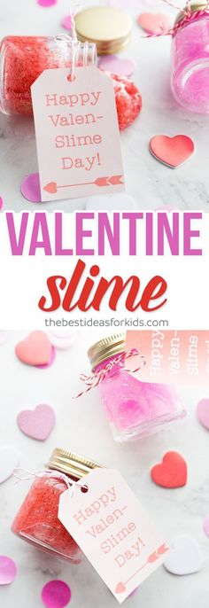 This Valentine Slime is easy to make and makes a great gift! Free Printable Valentine Slime Gift Tags. Valenslime gift tag. Pink & Red Valentine Slime for Kids. This makes a great non-candy gift idea! #valentinesday #slime #slimerecipe via @bestideaskids