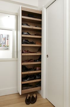 Love shoes but have trouble storing them discretely? Meet the solution, a bespoke, pull-out shoe rack that is easily accessible.