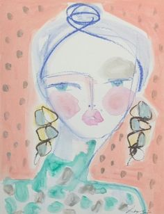 """Original mixed media on paper. Exclusively designed for SouthHaus. 9"""" x 12"""" Leslie Weaver is a mixed media artist living in Charleston, SC with her husband, two daughters and a newly acquired Bichon p"""