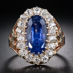 10.66 Carat Natural 'No Heat' Ceylon Sapphire Antique Ring