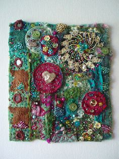 "fabric collage | I made this collage (approx 5"" x 6"" ) for m… 