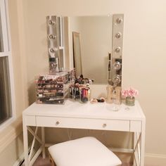 My latest #DIY!!! I have been looking for a vanity mirror but was not ready to make the $400 (ish) commitment. I made this for less than $100 and it took less than 90 minutes from start to finish! The guy at Lowe's didn't think I could do the electrical work by myself which made me really just want to prove him wrong () I'm so glad I did! I really wasn't bad! I love the way it came out!  Thank you to @jessicazirkmakeup for the idea to DIY this and to my future brother-in-law for helping me…