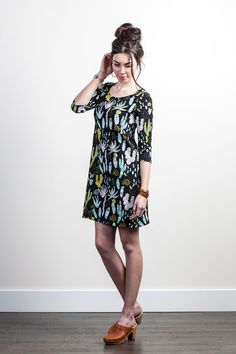 Cactus Shift Dress in Dusty Pink, Yellow Ochre, Blue Mint and Green on Black
