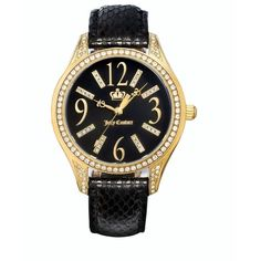 Love Black snakeskin  together. Juicy Couture Watch, Women's Lively Black Leather Strap 1900656