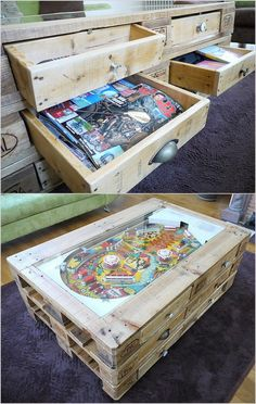 Here's unique coffee table to offer your room as more different way. Mostly we give priority to design and more comfort able object as this table which have storage drawers in it. More unique thing here is a ball game is added on the upside of the coffee table which is making your time as good to spend.