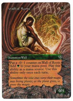 MTG Altered Painted Wall of Roots Mirage FREE SHIPPING #WizardsoftheCoast