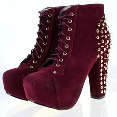 New TRUFFLE Stud Spike Suedette Heeled Platform Lace Ankle Boots... ❤ liked on Polyvore