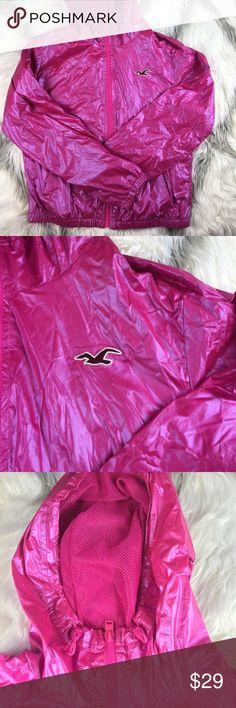 Hollister hoodie zip jacket Hot wet look hollister zip up hoodie in pinkalicios girl you would look amazing Hollister Jackets & Coats