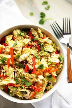 Blissful Basil_Napa Cabbage Salad with Sweet Tamari-Sesame Dressing. Coleslaw, Salad Recipes, Healthy Recipes, Vegetarian Recipes, Vegetable Recipes, Weeknight Recipes, Healthy Salads, Healthy Dinners, Healthy Foods