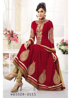 StyleFunia Marron Designer Heavy Embroidered Anarkali Suit