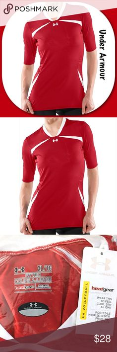Under Armour Jersey Athleisure Shirt Top Red Gym New with Tag!  Under Armour Womens Athleisure Sport Jersey Shirt Athletic Volleyball Gym Top Model number 1222067 Size XL (Extra Large) Elevate 1/2 (half) sleeve Red and white Solid with stripes UA fitted HeatGear Retails $50  Thank you for stopping by. Please MAKE an OFFER or visit my POSH CLOSET to BUNDLE and SAVE! Under Armour Tops Tees - Short Sleeve