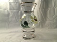 Gold Trimmed Glass Vase With Hand Painted Flowers by CraftBinge, $8.99