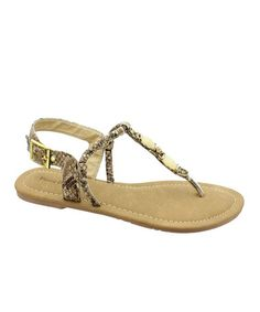 Take a look at this Beige Snake Melody Thong Sandal by Pierre Dumas on #zulily today!
