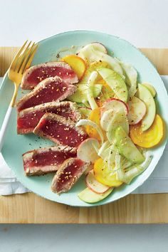 Seared Tuna with shaved vegetable salad. Root vegetables are a super popular side in the winter, usually roasted until fully tender. But shaving them raw into a side dish salad i. Vegetable Kebabs, Vegetable Salad, Clean Eating Recipes, Healthy Eating, Healthy Recipes, Healthy Meals, Clean Meals, Weeknight Recipes, Clean Diet