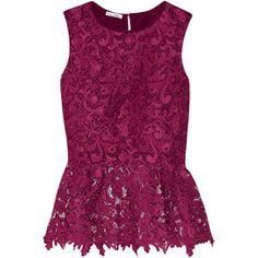 Oscar de la Renta Guipure lace peplum blouse
