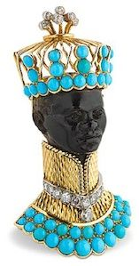 Im only down with blackamoor as long as they are depicted as kings and princes !!! Cartier Oro, diamantes y turquesas