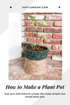 How to make a plant pot. Use yarn and twine to create this really simple two-toned plant pot! Homemade Home Decor, Diy Home Decor, Potted Plants, Indoor Plants, Diy Home Accessories, Weekend Crafts, Green Accents, Do It Yourself Home, Flower Pots