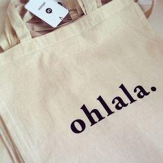Ohlala / Cotton tote bag / Screen printed van oelwein op Etsy, €14,00