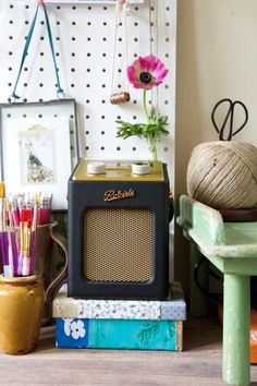 Iconic Roberts radio with the mini revival range perfect for a small space in the kitchen  #radio #Roberts #black #kitchen #ideas